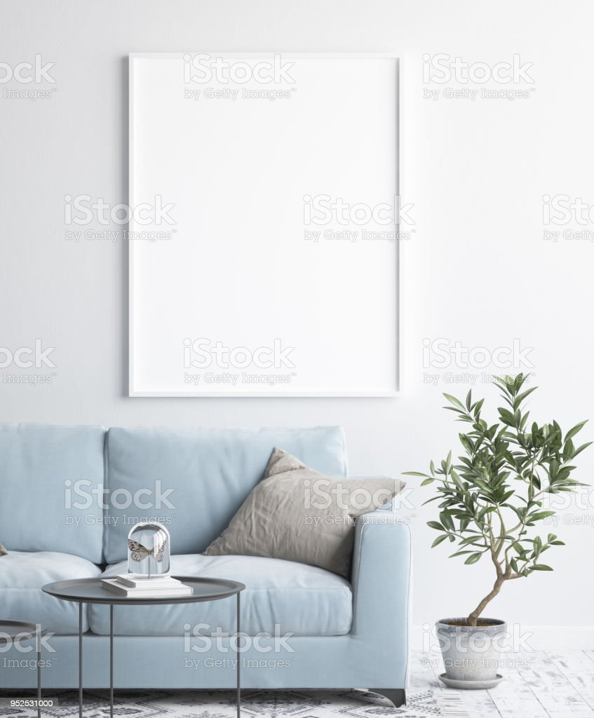 Mock up poster frame in interior background, scandinavian style stock photo