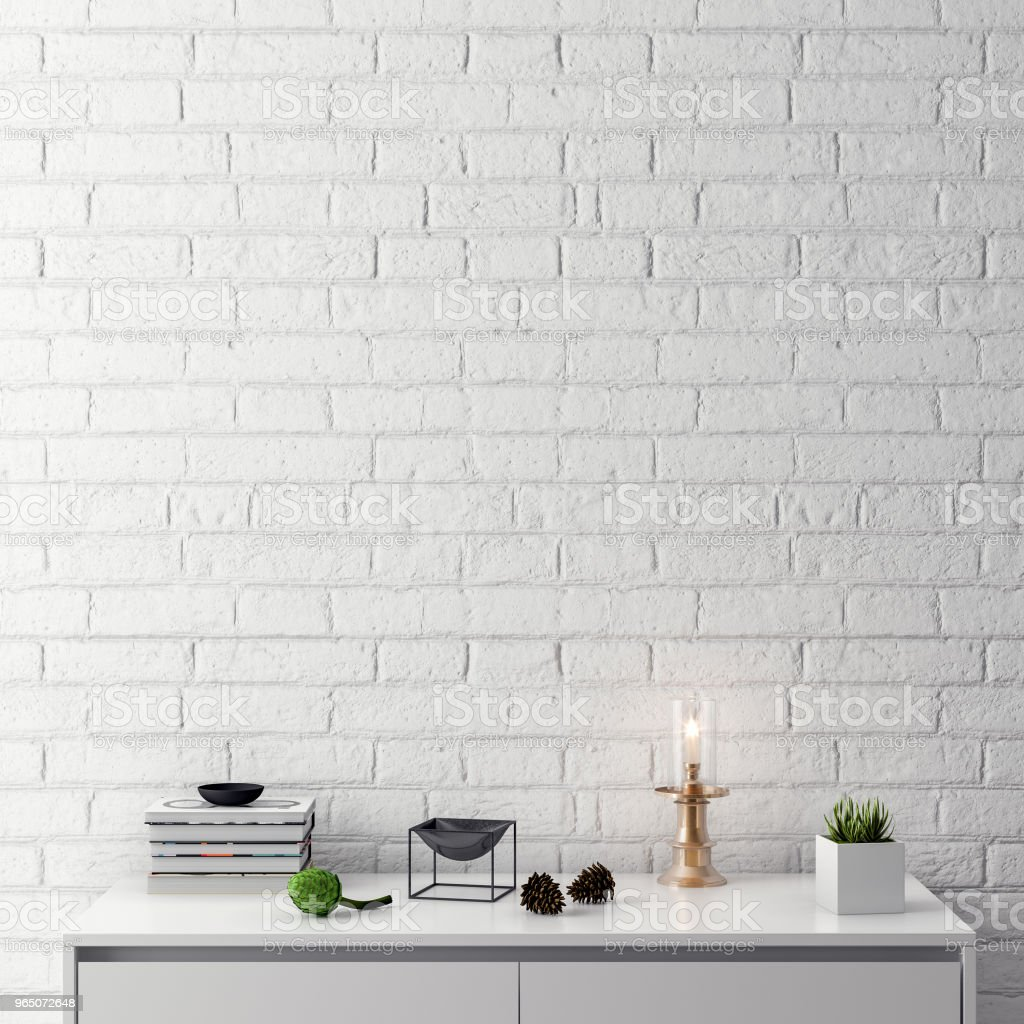 Mock up poster frame in interior background with brick wall, 3D illustration zbiór zdjęć royalty-free