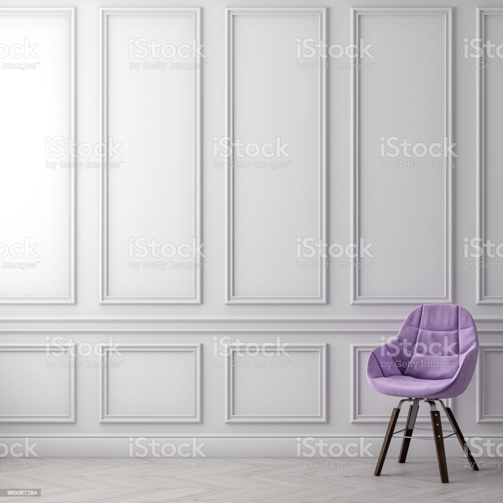 Mock up poster frame in interior background with classic wall, 3D illustration zbiór zdjęć royalty-free