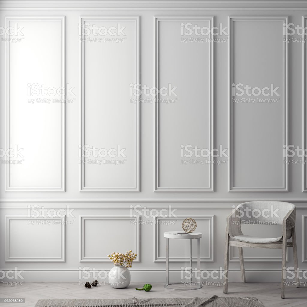 Mock up poster frame in interior background with classic wall, 3D illustration royalty-free stock photo