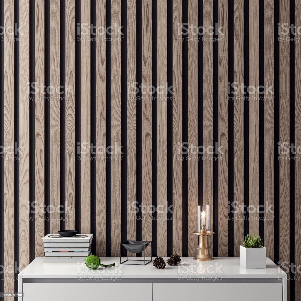 Mock up poster frame in interior background with wood wall planks, 3D illustration zbiór zdjęć royalty-free