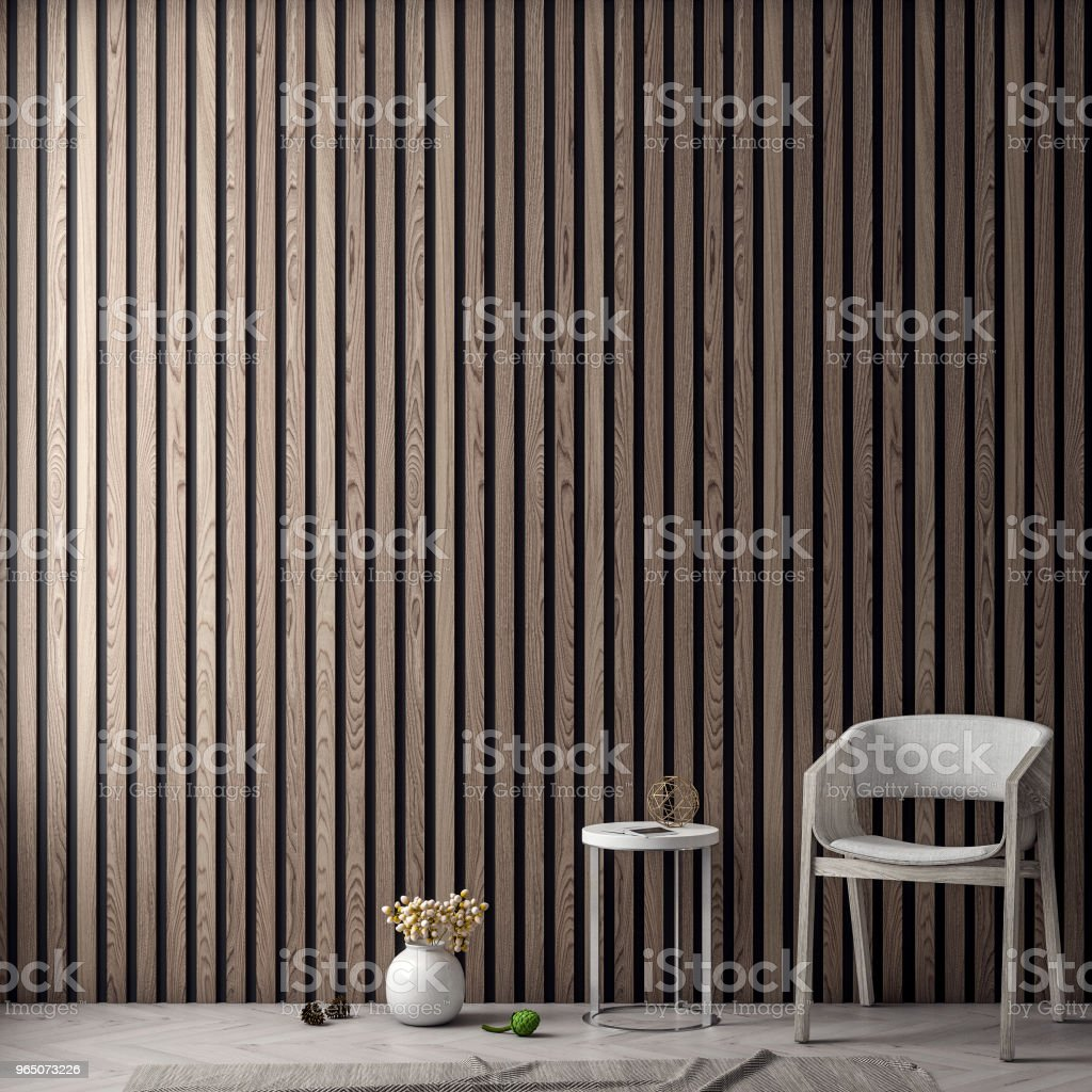 Mock up poster frame in interior background with wood wall planks, 3D illustration royalty-free stock photo
