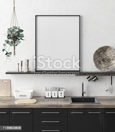 istock Mock up poster frame in kitchen interior background, Ethnic style 1139803809
