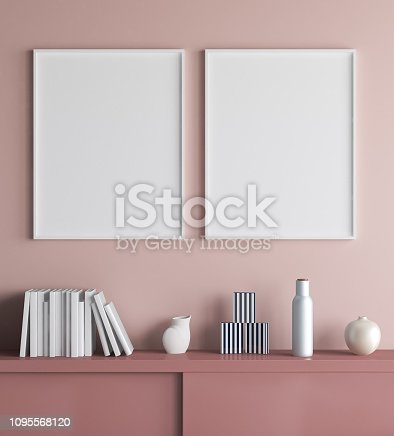 istock Mock up poster frame in living room interior background 1095568120