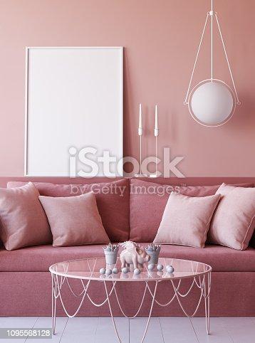 istock Mock up poster frame in living room interior background 1095568128