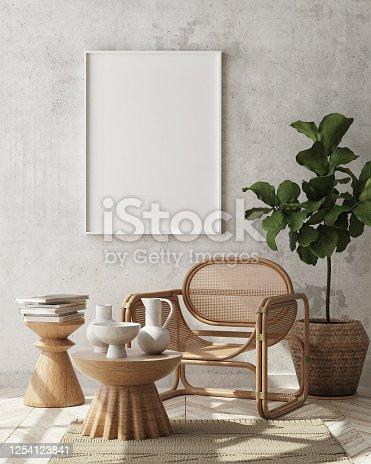 mock up poster frame in modern interior background, Scandinavian style, 3D render, 3D illustration