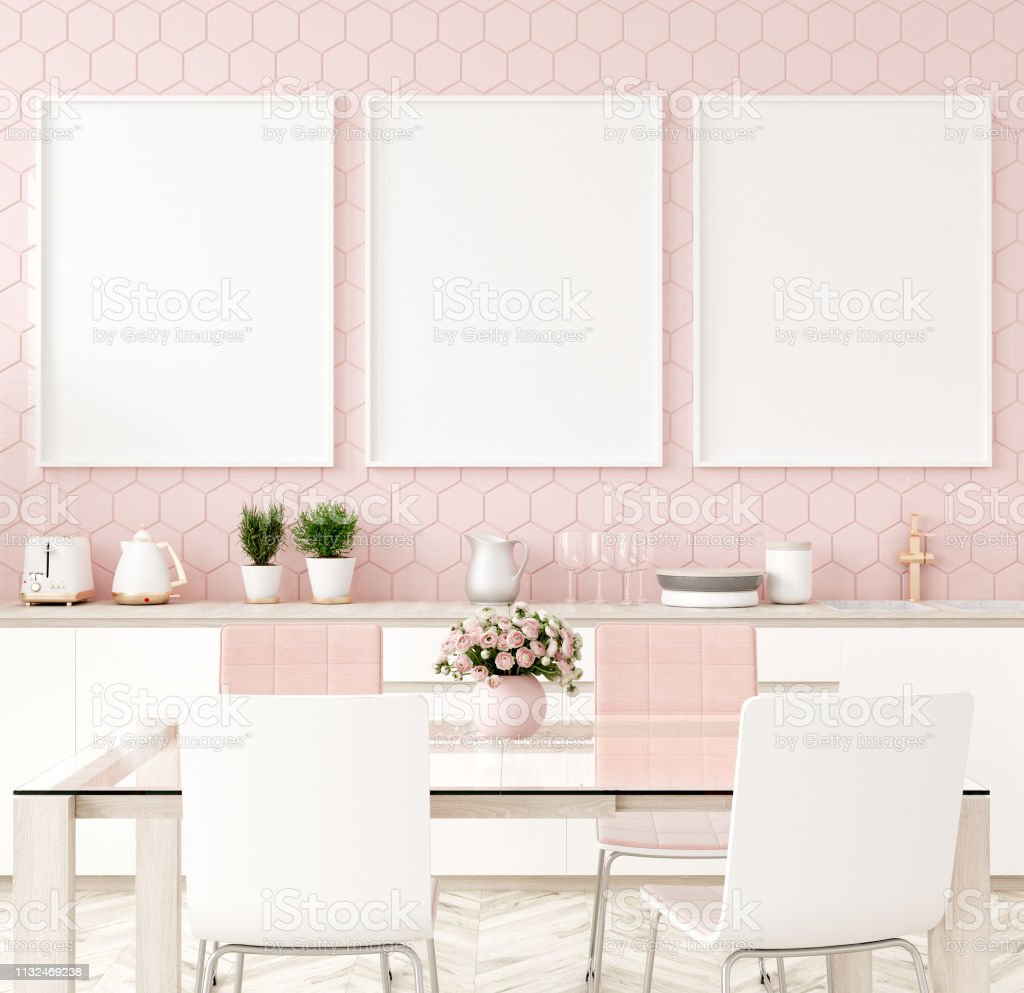 Mock Up Poster Frame In Pastel Pink Kitchen Interior Stock ...