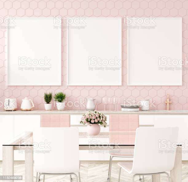 Mock up poster frame in pastel pink kitchen interior picture id1132469238?b=1&k=6&m=1132469238&s=612x612&h=926lnr4ygctuoruc8 ezv3zjwgp0p86vdhc70siv4qc=