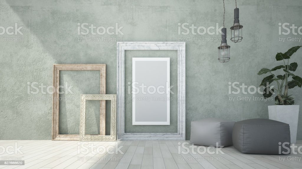 Mock up poster frame in  room. stock photo
