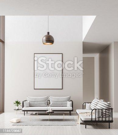 Mock up poster frame in scandinavian style interior. Minimalist modern interior design. 3D illustration.