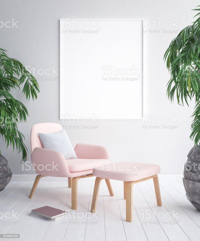 Maquette image postérisée en fond intérieur tropical - Photo