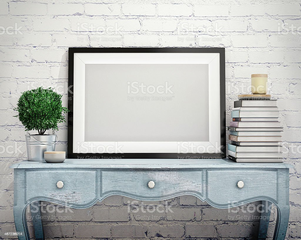 mock up poster frame in vintage hipster loft interior background bildbanksfoto