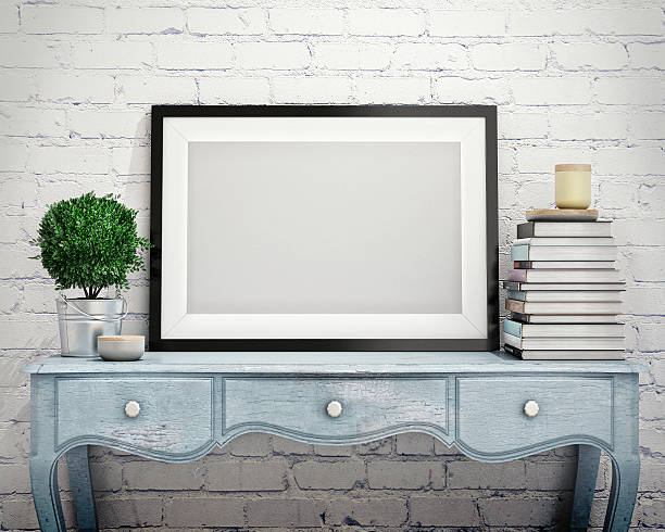 mock up poster frame in vintage hipster loft interior background stock photo