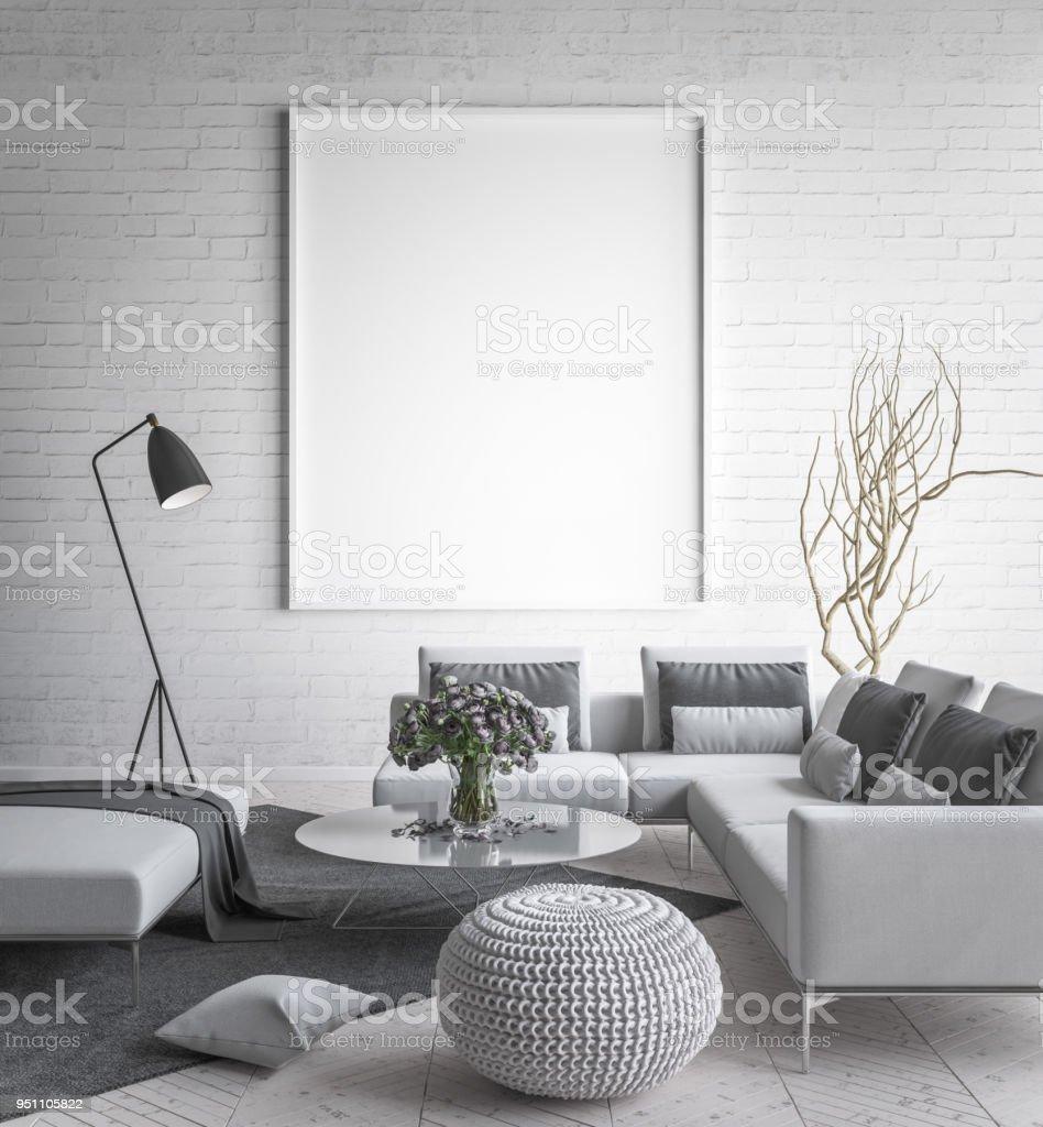 maquette affiche cadre intérieur toile de fond style scandinave