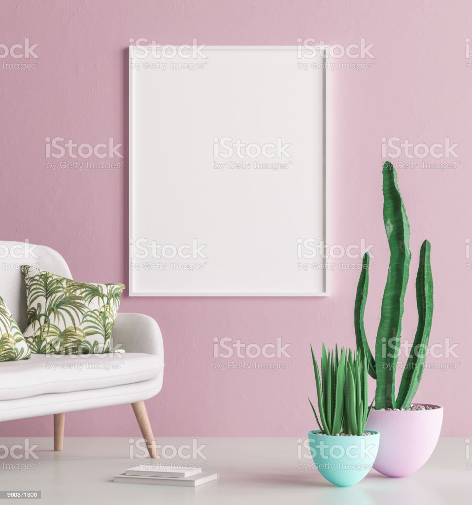 Mock up poster frame interior background with sofa and cactus royalty-free stock photo