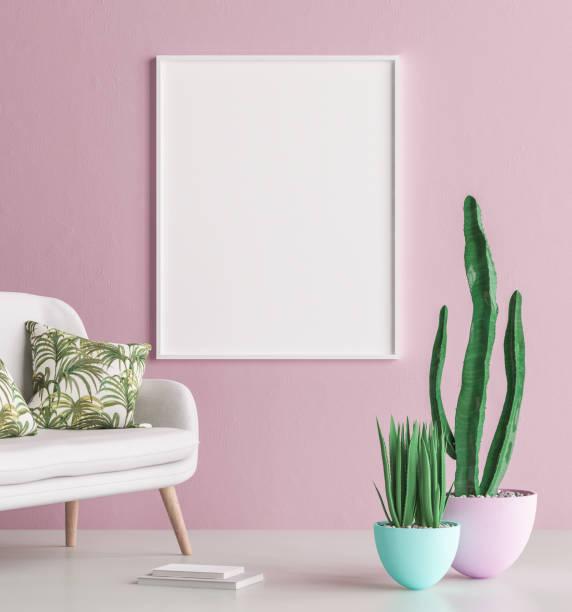 mock-up poster innenraum rahmenhintergrund mit sofa und kaktus - wandmuster stock-fotos und bilder