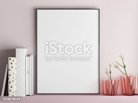istock Mock up poster frame on minimalism rose wall 1016276124