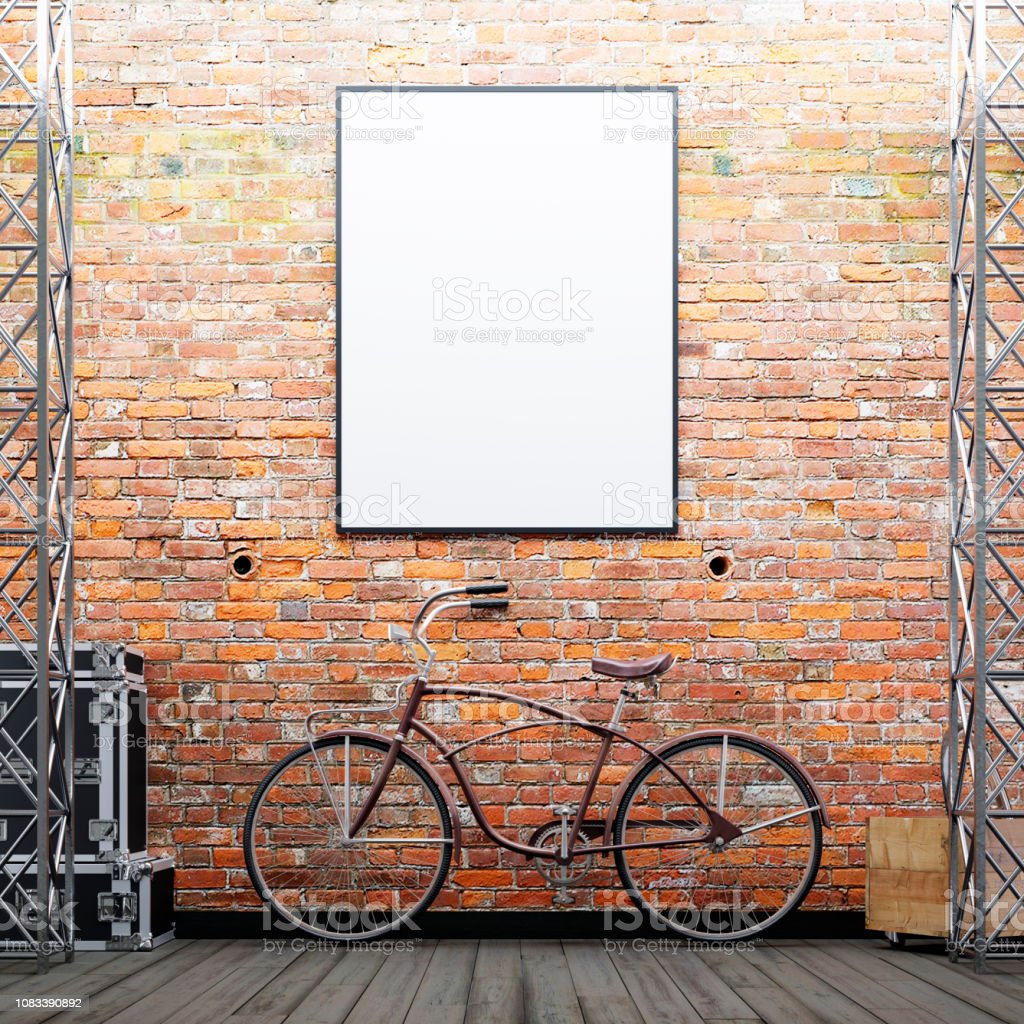 Mock up poster frame on the brick wall with a bike and decor on a...
