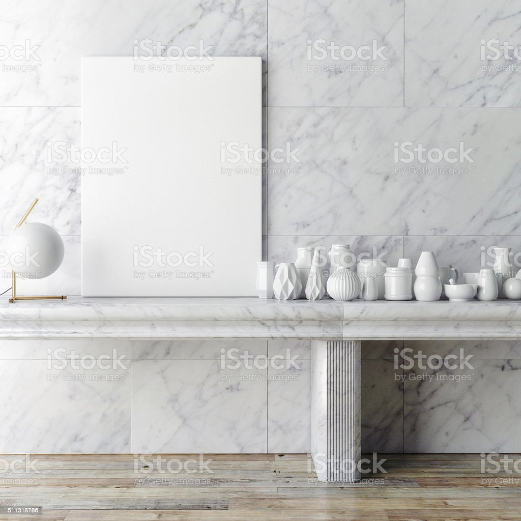 Mock up poster frame  on white marble wall, stock photo