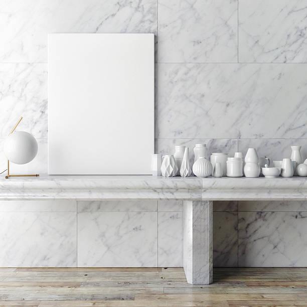 Cartaz de maquetes quadro na parede de mármore branco, - foto de acervo