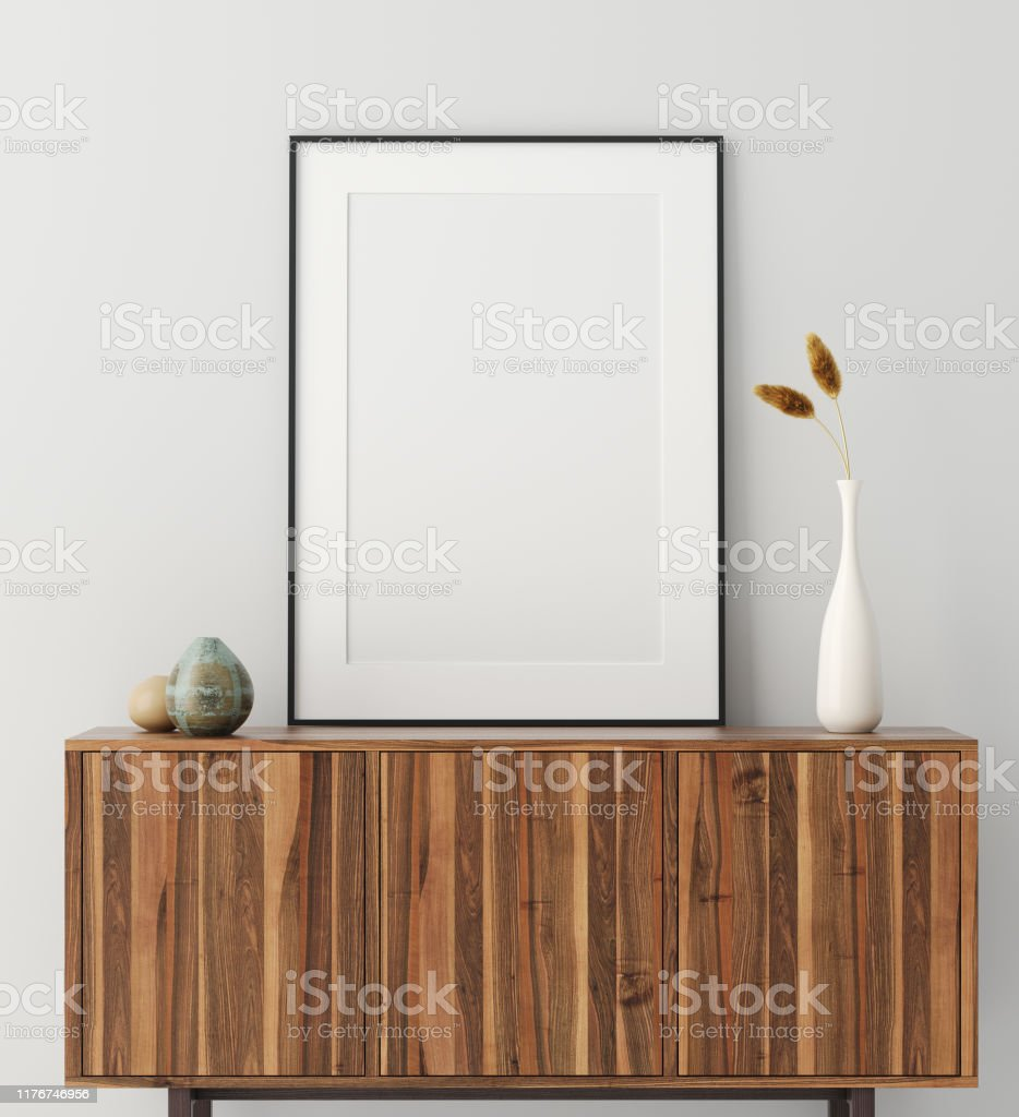 Mock up poster frame op houten kast in huis interieur - Royalty-free Achtergrond - Thema Stockfoto