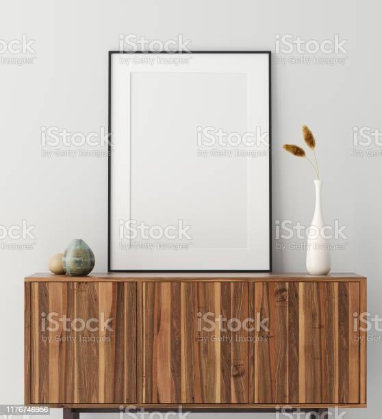 Mock Up Poster Frame Op Houten Kast In Huis Interieur Stockfoto en meer beelden van Achtergrond - Thema