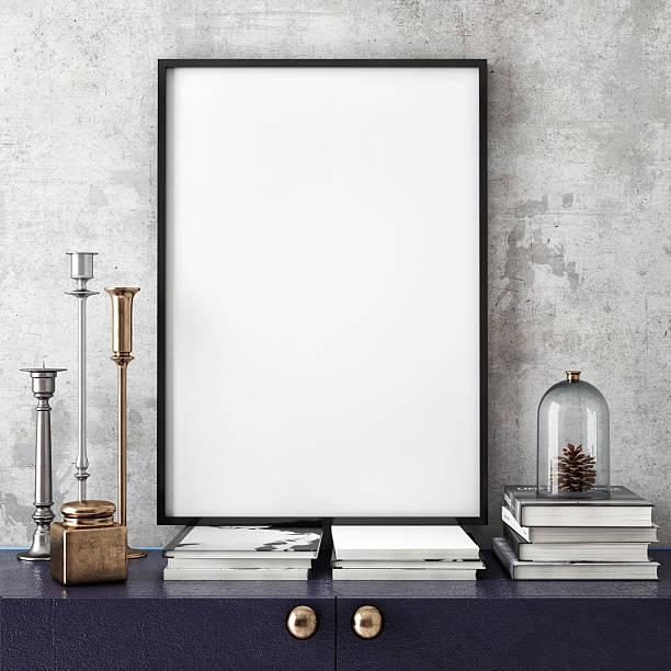 mock up poster frame mit auf retro-kommode mit schubladen, - bilder poster stock-fotos und bilder