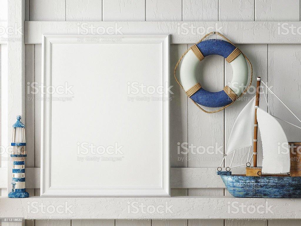 De maquetes pôster com moldura em fundo de madeira, hipster interior - foto de acervo