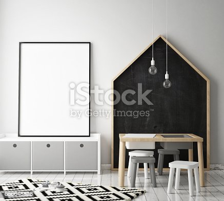 1205865899 istock photo mock up poster frames in children bedroom, Scandinavian style interior background, 3D render 686648828