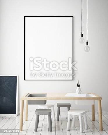 1205865899 istock photo mock up poster frames in children bedroom, Scandinavian style interior background, 3D render 686648838