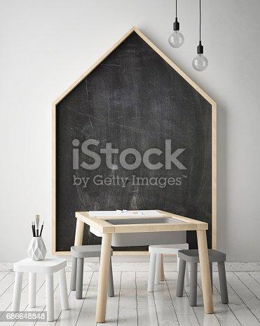 686649068 istock photo mock up poster frames in children bedroom, Scandinavian style interior background, 3D render 686648848