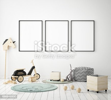 1205865899 istock photo mock up poster frames in children bedroom, Scandinavian style interior background, 3D render 686648930
