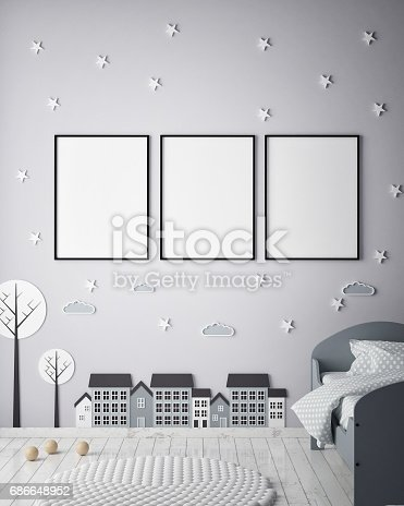 1205865899 istock photo mock up poster frames in children bedroom, Scandinavian style interior background, 3D render 686648952