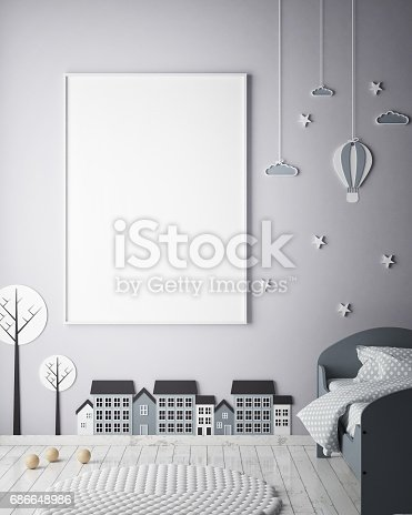 1205865899 istock photo mock up poster frames in children bedroom, Scandinavian style interior background, 3D render 686648986