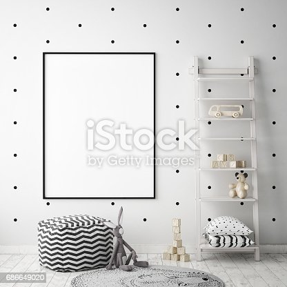 1205865899 istock photo mock up poster frames in children bedroom, Scandinavian style interior background, 3D render 686649020