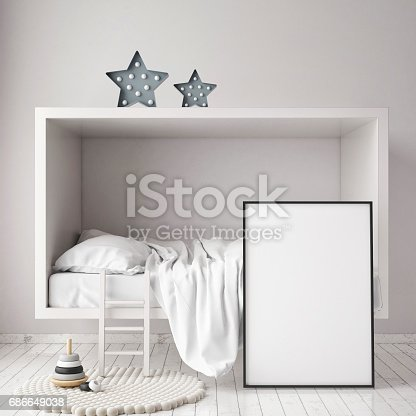 1205865899 istock photo mock up poster frames in children bedroom, Scandinavian style interior background, 3D render 686649038