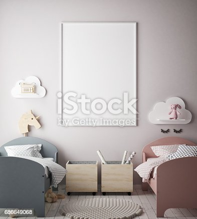 1205865899 istock photo mock up poster frames in children bedroom, Scandinavian style interior background, 3D render 686649068