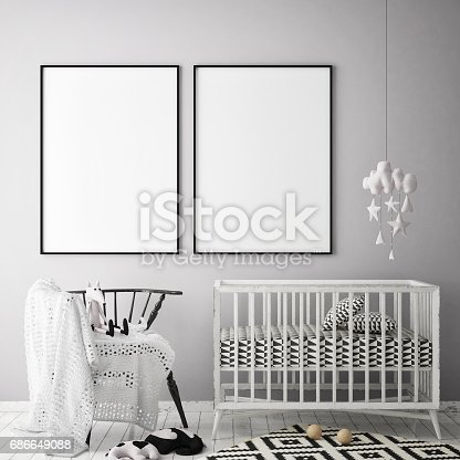 1205865899 istock photo mock up poster frames in children bedroom, Scandinavian style interior background, 3D render 686649088