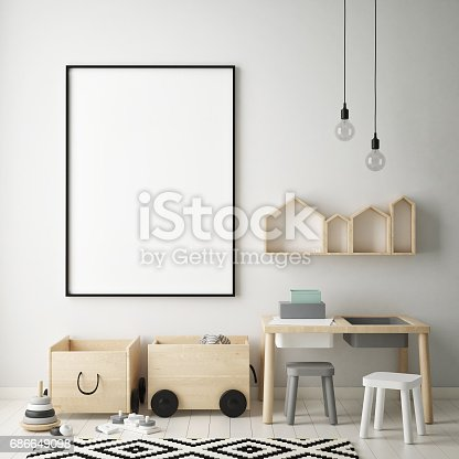 1205865899 istock photo mock up poster frames in children bedroom, Scandinavian style interior background, 3D render 686649098