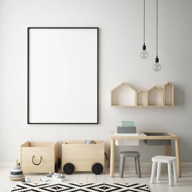 mock-up plakatrahmen in kinder schlafzimmer, skandinavischen stil innen hintergrund, 3d rendern - bilder poster stock-fotos und bilder