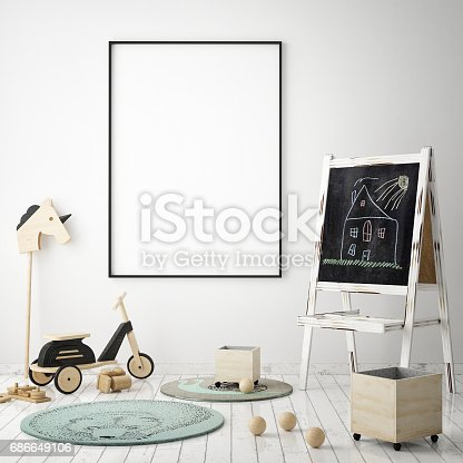 1205865899 istock photo mock up poster frames in children bedroom, Scandinavian style interior background, 3D render 686649106