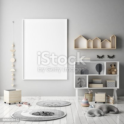 1205865899 istock photo mock up poster frames in children bedroom, Scandinavian style interior background, 3D render 686649112