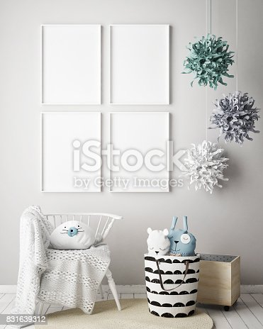 istock mock up poster frames in children bedroom, Scandinavian style interior background, 3D render 831639312