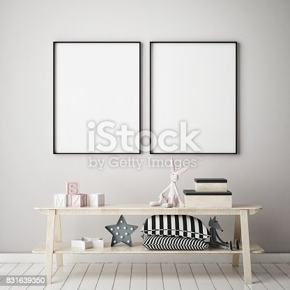 1205865899 istock photo mock up poster frames in children bedroom, Scandinavian style interior background, 3D render 831639350