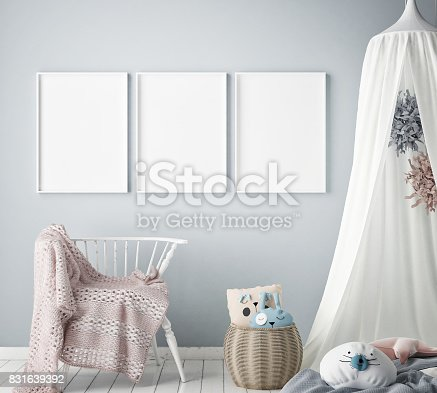 istock mock up poster frames in children bedroom, Scandinavian style interior background, 3D render 831639392