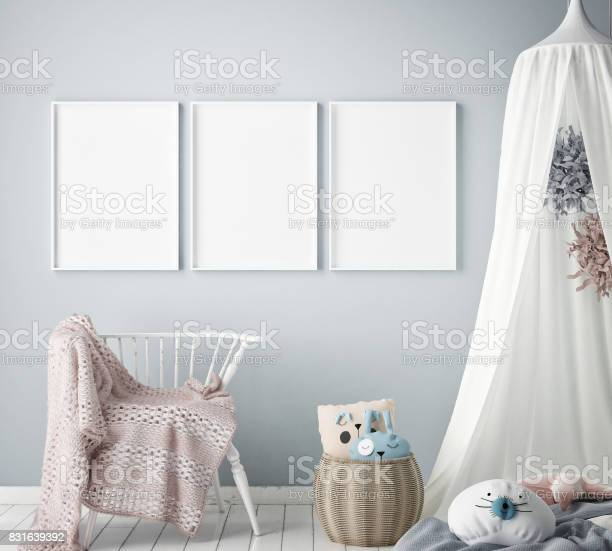 Mock up poster frames in children bedroom scandinavian style interior picture id831639392?b=1&k=6&m=831639392&s=612x612&h=6ecxeiddvqp87frt4waok zxkbiypfkbqsxz5timt7i=