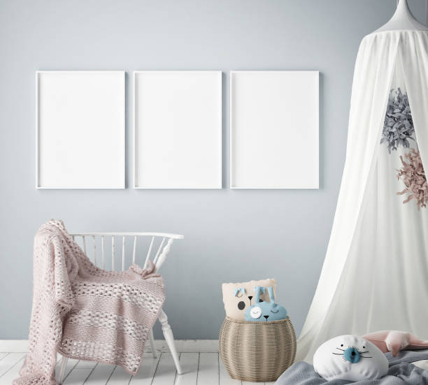 mock-up plakatrahmen in kinder schlafzimmer, skandinavischen stil innen hintergrund, 3d rendern - babytasche stock-fotos und bilder