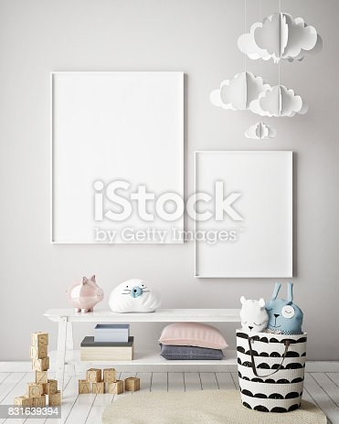 istock mock up poster frames in children bedroom, Scandinavian style interior background, 3D render 831639394