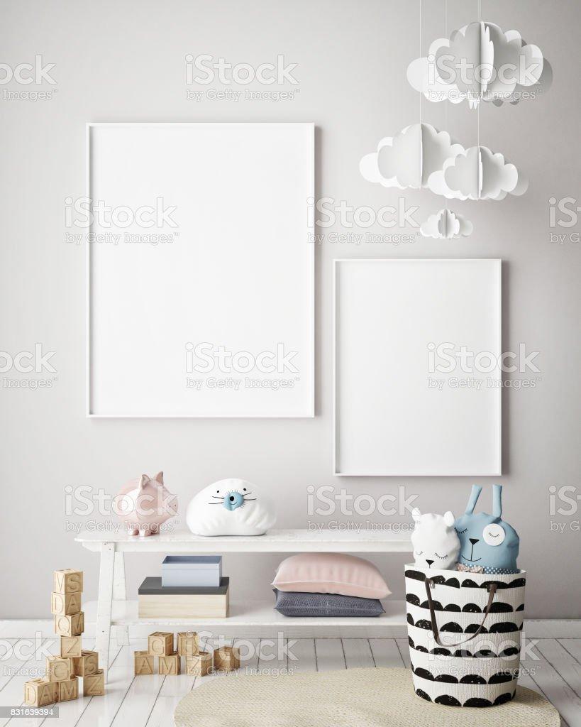 mock up poster frames in children bedroom, Scandinavian style interior background, 3D render stock photo