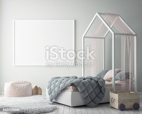 istock mock up poster frames in children bedroom, Scandinavian style interior background, 3D render 842428998